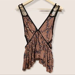 Free People One Dusty Rose Floral Cutout Top
